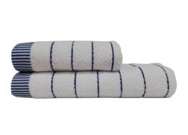 Set 2 prosoape bumbac 100%, 50x90cm si 70x140cm Class Home Collection, Alb/Albastru