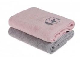 Set 2 prosoape bumbac 100%, Beverly Hills Polo Club, Roz-Gri 70x140cm, cod 202 - Pink, Grey