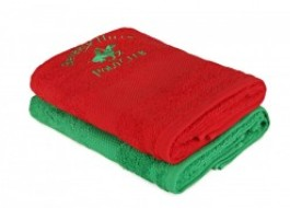 Set 2 prosoape bumbac 100%, Beverly Hills Polo Club,Tommy Orj Rosu-Verde 50x100cm