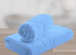 Set 2 prosoape bumbac 100% cu bordura greceasca, Bleu
