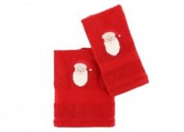 Set 2 prosoape de baie, Mos Craciun, roșu
