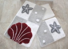 Set 3 covorase baie, Alessia Home, Star Fish gri