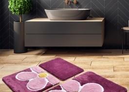 Set 3 covorase baie acril, Alessia Home, Flower Purple