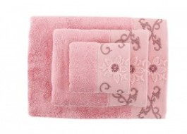 Set 3 prosoape bambus Bahar Home Cicek Dusty Rose