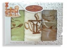 Set 3 prosoape bucatarie bumbac 100%, Coffe Maro/Crem/Verde