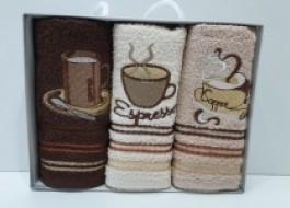 Set 3 prosoape bucatarie bumbac 100%, Coffe 3