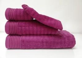 Set 3 prosoape si 1 manusa bumbac 100% , Bahar Tekstil, Bonisia Royal Claret Red