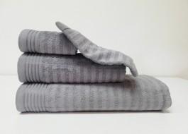 Set 3 prosoape si 1 manusa bumbac 100% , Bahar Tekstil, Bonisia Royal Grey