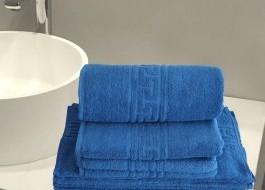 Set 4 prosoape bumbac 100% cu bordura greceasca, Economy Pack Albastru