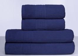 Set 4 prosoape bumbac 100% cu bordura greceasca, Family Pack Albastru