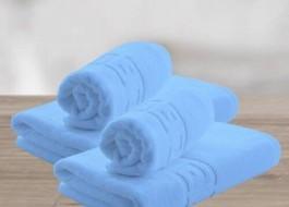 Set 4 prosoape bumbac 100% cu bordura greceasca, Family Pack Bleu ciel