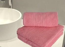 Set 4 prosoape bumbac 100% cu bordura greceasca, Family Pack roz
