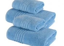 Set 4 prosoape bumbac 100% cu linii, 550gr/m2, Family Pack, Bleu