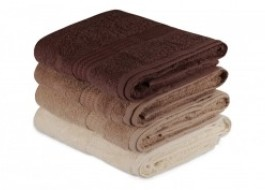 Set 4 prosoape bumbac 100%,Hobby Home, 70x140 cm, Rainbow - Brown