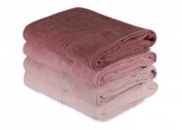Set 4 prosoape bumbac 100%,Hobby Home, 70x140 cm, Rainbow - Powder