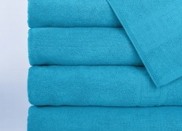 Set 5 prosoape 50x90cm, bumbac 100% cu bordura greceasca, Bleu Ciel