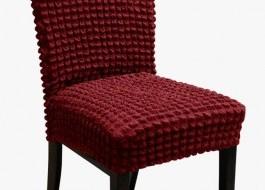 Set 6 huse scaun din material creponat, Bordo