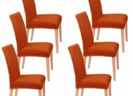 Set 6 huse scaun din material creponat, Caramiziu(6080)