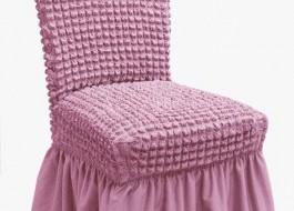 Set 6 huse scaun din material creponat cu volan, Lila