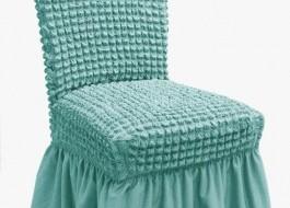 Set 6 huse scaun din material creponat cu volan, Turcoaz