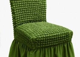 Set 6 huse scaun din material creponat cu volan, Verde