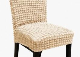 Set 6 huse scaun din material creponat, Ecru