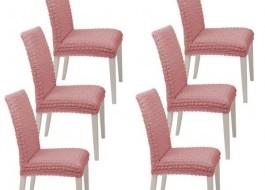Set 6 huse scaun din material creponat, Roz Pudra