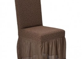 Set 6 huse scaun jacquard, cu volan Maro Inchis