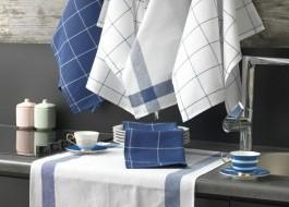 Set 6 prosoape bucatarie, bumbac 100%, 45x60 cm, Eponj Home, Pecete Albastru
