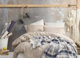 Set 7 piese, lenjerie de pat + cuvertura, Cotton Box, Denim - Beige
