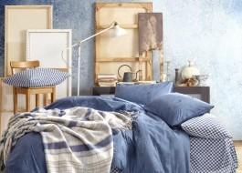 Set 7 piese, lenjerie de pat + cuvertura, Cotton Box, Denim - Dark Blue