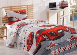 Set cuvertura matlasata + 1 fata perna, Eponj Home, Crazy Red