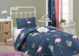 Set cuvertura matlasata + 1 fata perna, Eponj Home, Flamingo Bleumarin