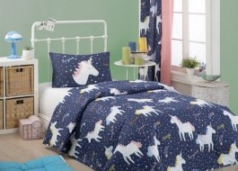 Set cuvertura matlasata + 1 fata perna, Eponj Home, Magic Unicorn Bleumarin