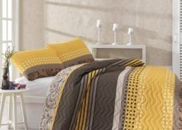 Set cuvertura matlasata + 1 fata perna, Eponj Home, Miranda - Yellow