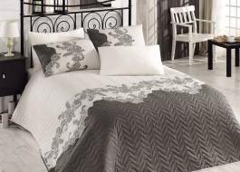 Set cuvertura matlasata + 1 fata perna, Eponj Home, Mixscarlet - Beige