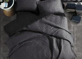 Set cuvertura matlasata + 2 fete perna bumbac 100%, Monza V1 - Antracit