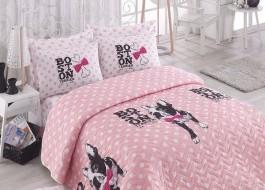 Set cuvertura matlasata 200x220cm+ 2 fete perna 50x70cm, Boston - Pink