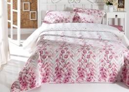 Set cuvertura matlasata 200x220cm+ 2 fete perna 50x70cm Coretta Light Pink