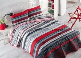 Set cuvertura matlasata 200x220cm+ 2 fete perna 50x70cm Efried Red