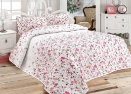 Set cuvertura matlasata 200x220cm+ 2 fete perna 50x70cm Flomar Pink