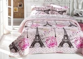 Set cuvertura matlasata 200x220cm+ 2 fete perna 50x70cm Fromparis Pink