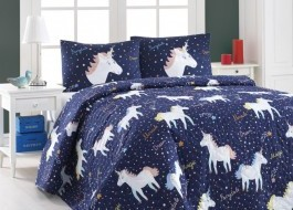Set cuvertura matlasata 200x220cm+ 2 fete perna 50x70cm Magic Unicorn - Dark Blue