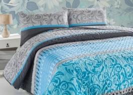 Set cuvertura matlasata 200x220cm+ 2 fete perna 50x70cm Miranda - Turquoise