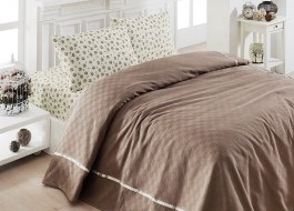 Set cuvertura+cearceaf pat+2 fete perne Maro