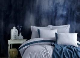 Set de lux 5 piese, lenjerie de pat + cuvertura, Cotton Box, Indigo Blue