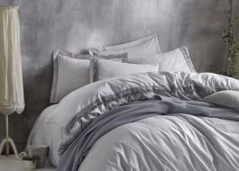 Set de lux 5 piese, lenjerie de pat + cuvertura, Cotton Box, Natura Gri