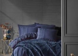 Set de lux 7 piese, lenjerie de pat + patura, Cotton Box, Emboss Albastru