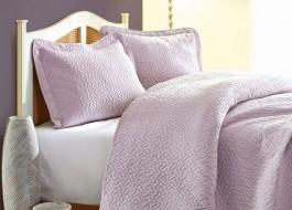 Set de lux cuvertura jacquard 240x250cm + 2 fete perna 50x70cm, Daily - Lilac