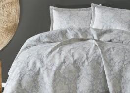 Set de lux cuvertura jacquard 240x250cm + 2 fete perna 50x70cm, Terra Grey